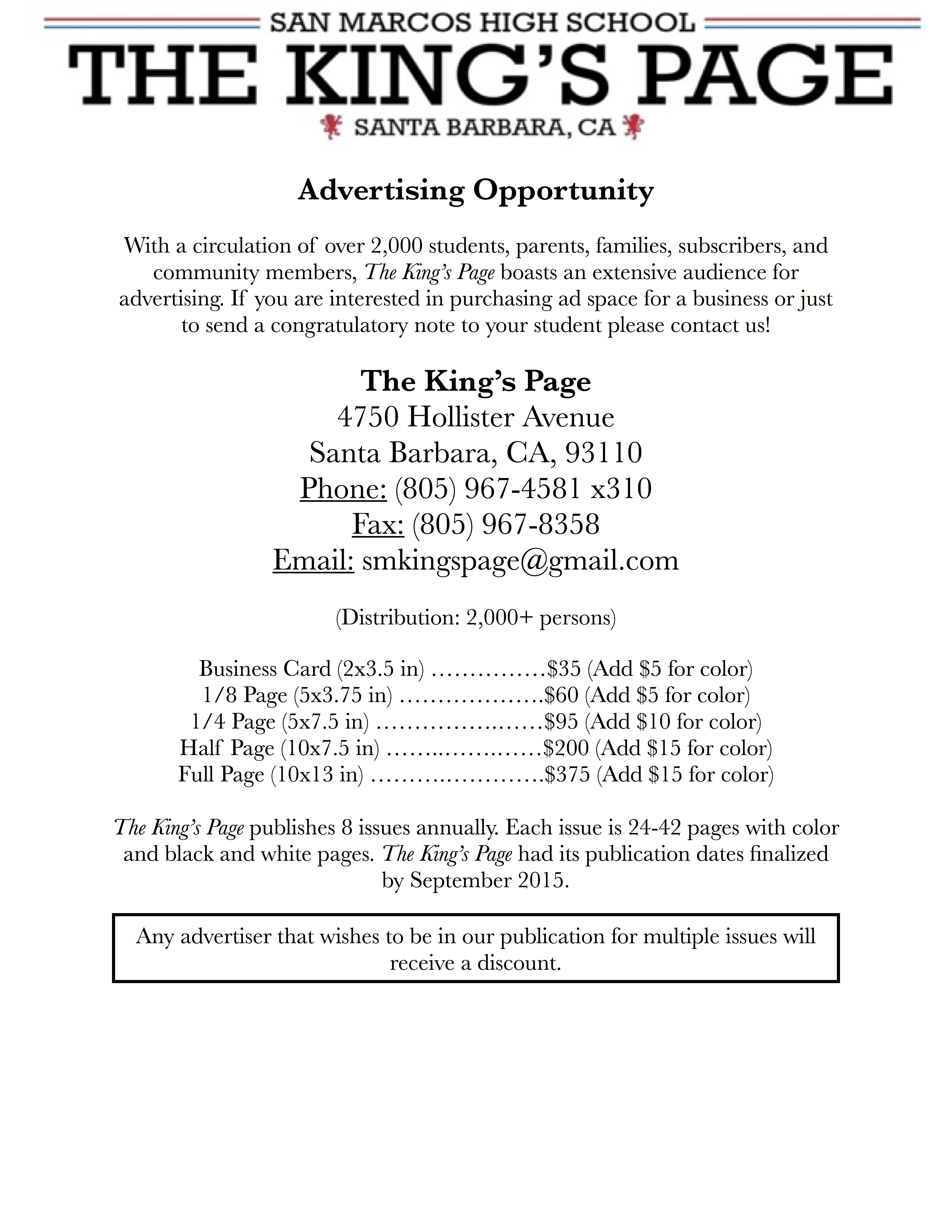 Advertising | The King\'s Page